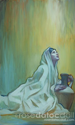 BEHOLD THE HANDMAID, by Rose Datoc Dall, oil on canvas, 36x60, 2013, available for purchase
