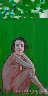 DREAMING OF GREEN 1, by Rose Datoc Dall, oil on canvas, 12x24, 2016, available for purchase