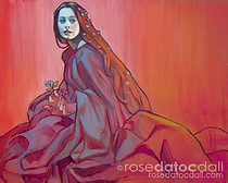 ADORNED WITH FORGET-ME-NOTS, by Rose Datoc Dall, oil on canvas, 30x40, 2012, SOLD