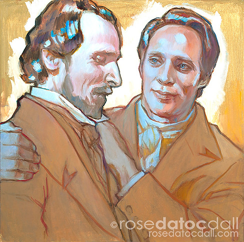 FRIENDS AT FIRST SHALL BE FRIENDS AT LAST, by Rose Datoc Dall, oil on canvas, 18x18, 2016, available for purchase