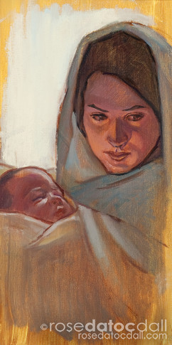 STUDY FOR PRESENTATION AT THE TEMPLE, by Rose Datoc Dall, oil on PANEL, 6x12, 2013, SOLD