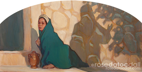 WHY WEEPEST THOU by Rose Datoc Dall, oil on panel, 12x24, 2014, available for purchase