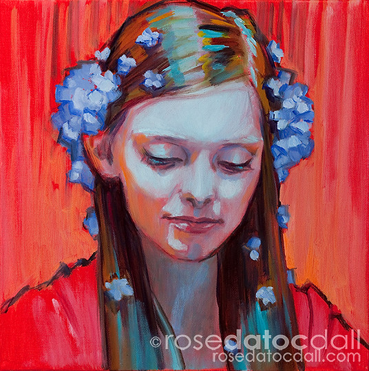 FORGET-ME-NOT GIRL 3, by Rose Datoc Dall, oil on canvas, 12x12, 2014, available for purchase