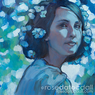 ROXANNE IN DEPHINIUMS, by Rose Datoc Dall, oil on canvas, 12x12, 2014, SOLD
