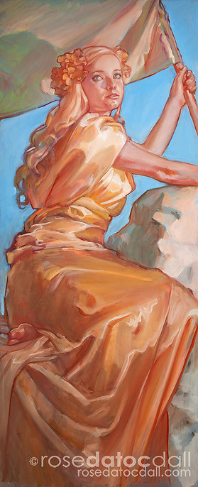 GUARDIAN OF VIRTUE, by Rose Datoc Dall, oil on canvas, 20x48, 2013, available for purchase