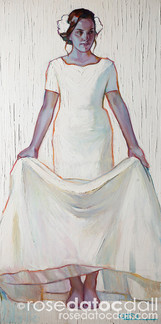 HAYLEY IN WHITE, by Rose Datoc Dall, oil on canvas, 18x36, 2015, available for purchase