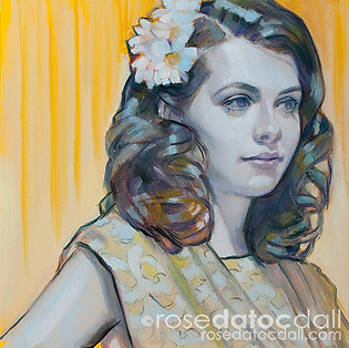 DAISY GIRL 2, by Rose Datoc Dall, oil on canvas, 12x12, 2014, available for purchase