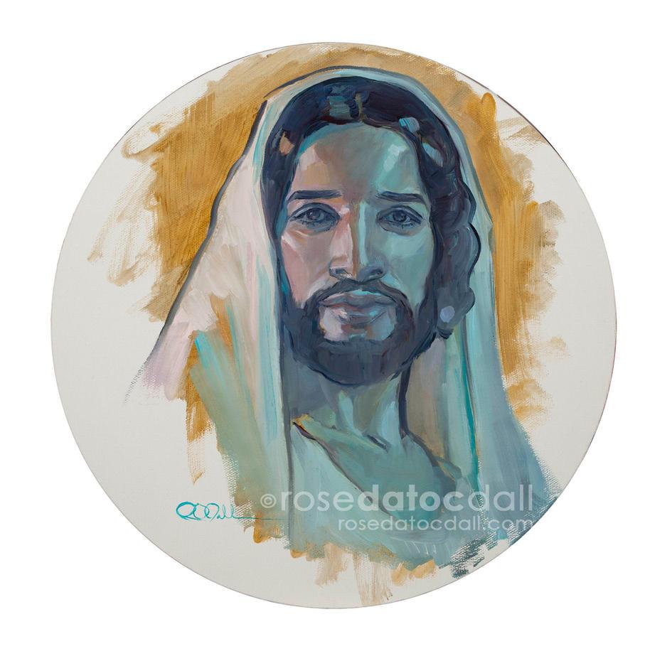 """CHRIST ROUND PORTRAIT, 12"""" x 12"""", oil on canvas, 2020"""