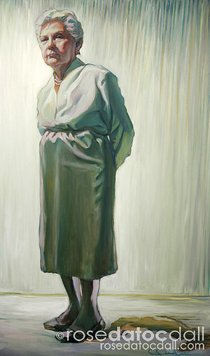 LOURDES IN WHITE by Rose Datoc Dall, oil on canvas, 60x36, 2007, not for sale
