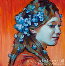 FORGET-ME-NOT GIRL 1, by Rose Datoc Dall, oil on canvas, 12x12, 2014, SOLD