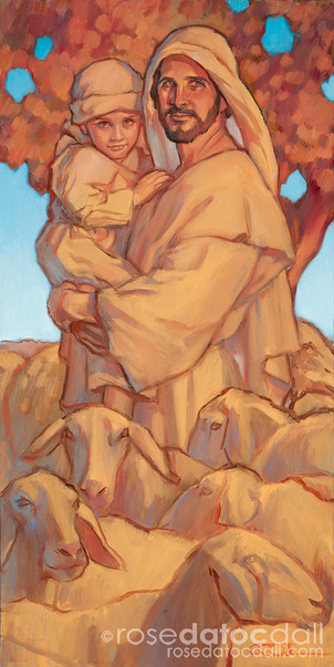 THE GOOD SHEPHERD AND THE CHILD, by Rose Datoc Dall, oil on canvas, 15x30, 2014, available for purchase