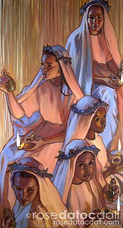 FIVE THAT WERE WISE, by Rose Datoc Dall, oil on canvas, 48x26, 2009, SOLD