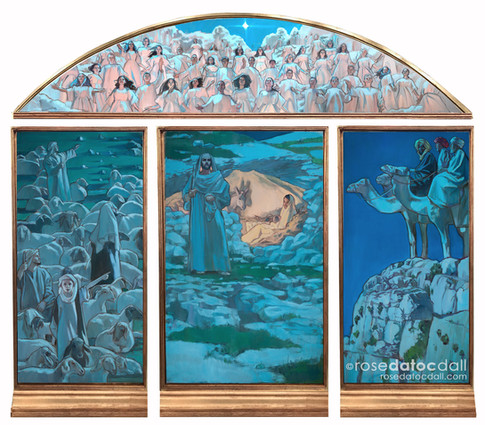NATIVITY QUADRIPTYCH, by Rose Datoc Dall, oil on canvas, 69x90, 2017, available for purchase