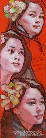 ORCHID GIRL MINI-STUDY, by Rose Datoc Dall, oil on canvas, 8x10, 2013, SOLD