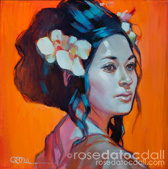 ORCHID GIRL by Rose Datoc Dall, oil on canvas, 12x12, 2013, available for purchase