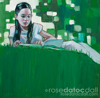 THE BOOK, by Rose Datoc Dall, oil on canvas, 24x24, 2016, available for purchase