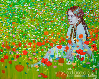 CAMIE IN WILDFLOWERS, by Rose Datoc Dall, oil on canvas, 12x24, 2015, SOLD