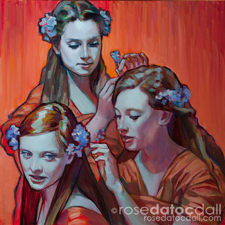FORGET-ME-NOT GIRLS, by Rose Datoc Dall, oil on canvas, 12x12, 2014, SOLD