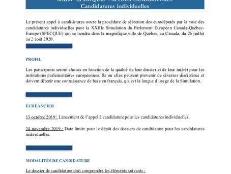 Appel des candidatures individuelles