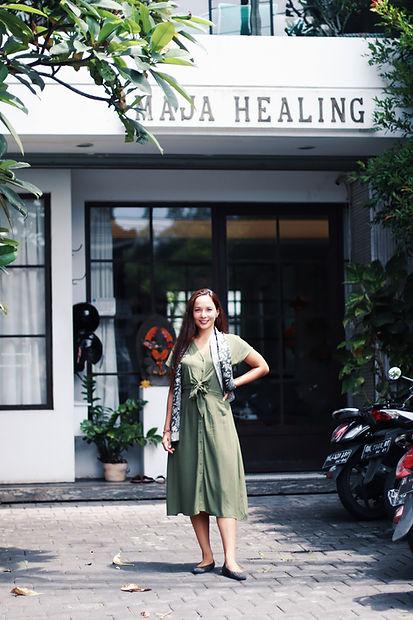 Kartika in front of Maja Healing