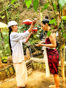 Cleansing with priest and holy men in Bali
