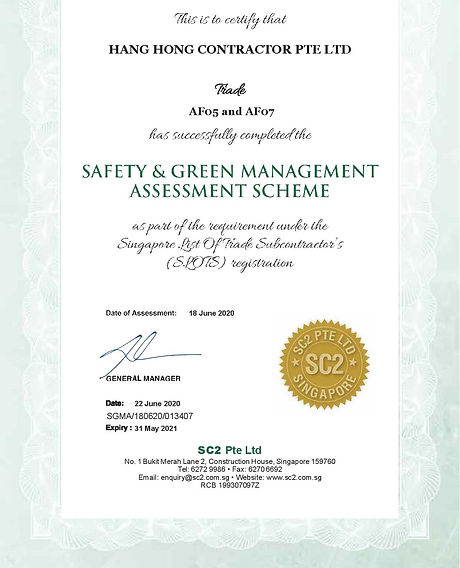 SC2 SgMA Safety Audit Assmt Cert (exp 20