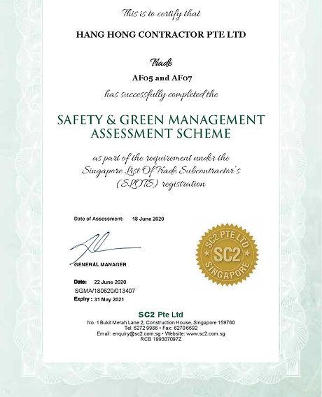 SC2 SgMA Safety Audit Assmt Cert (exp 20