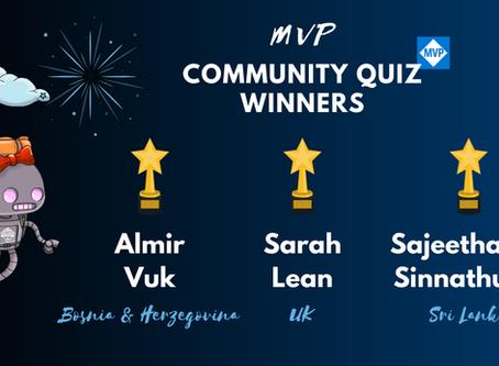 Winners of the MVP Community Quiz
