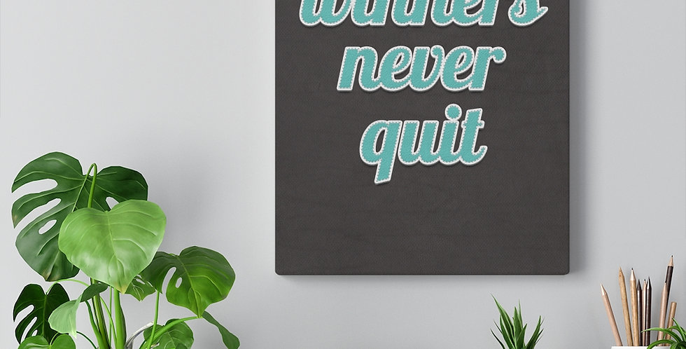 Winners never quit. Bold and inspiring motivational canvas prints