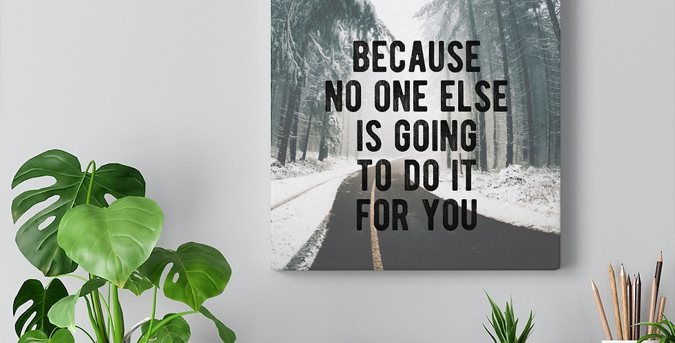 Push Yourself Quote. Bold and inspiring motivational canvas prints