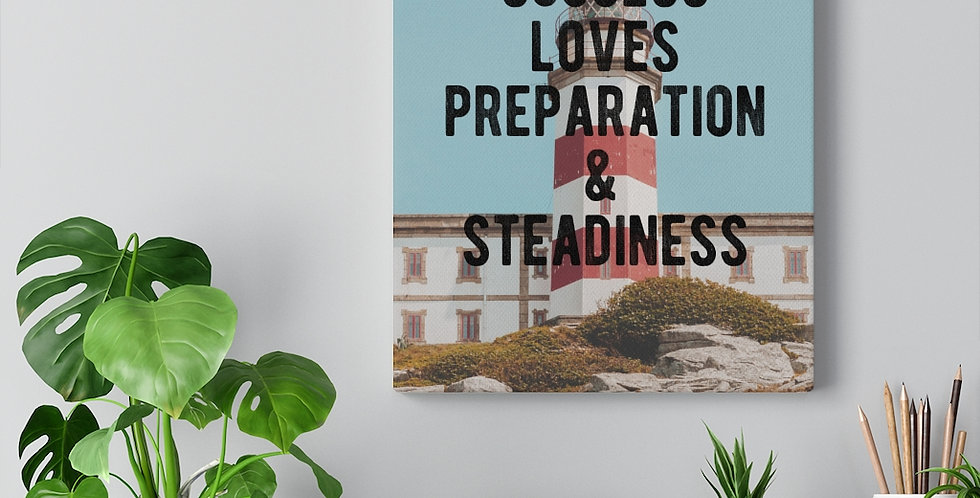 Success Loved Preparation. Bold and inspiring motivational canvas prints.