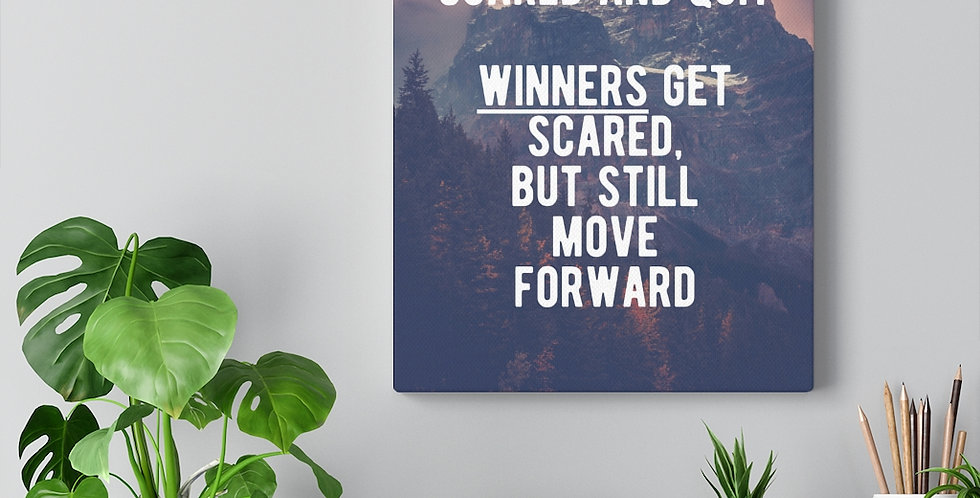 Winners always move forward. Bold and inspiring motivational canvas prints.