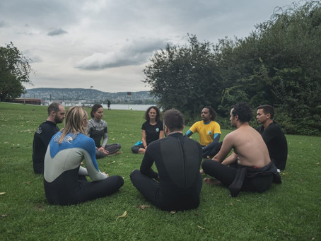 Surf therapy demo session at Lake Zurich, Switzerland