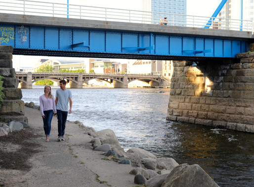 Meg and CJ   The Blue Bridge   Grand Rapids, Michigan