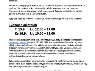 Jätetaiteen työpaja 15.-16.9. Louhitalolla
