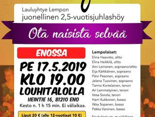 Lauluyhtye Lempon juonellinen 2,5-vuotisshöy 17.5. Louhitalolla