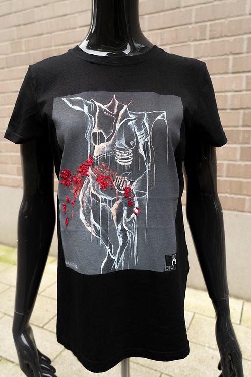 T-Shirt mit Print und Stickereien