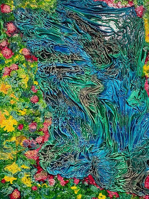 Blumenfeld und Wasser