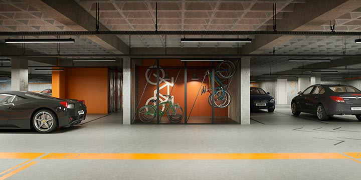 Parking e bike stow