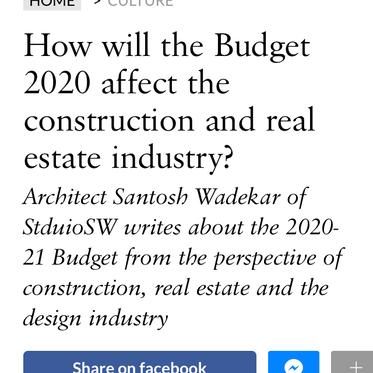 Architect Santosh Wadekar's analysis of Budget 20-21 published in Architectural Digest Magazine.
