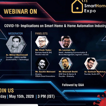 Webinar speak for COVID- implications for smart homes and Home automation Industry.