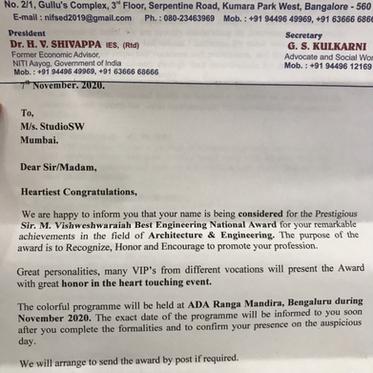 Sir Vishweshwaraiah National award For studioSW
