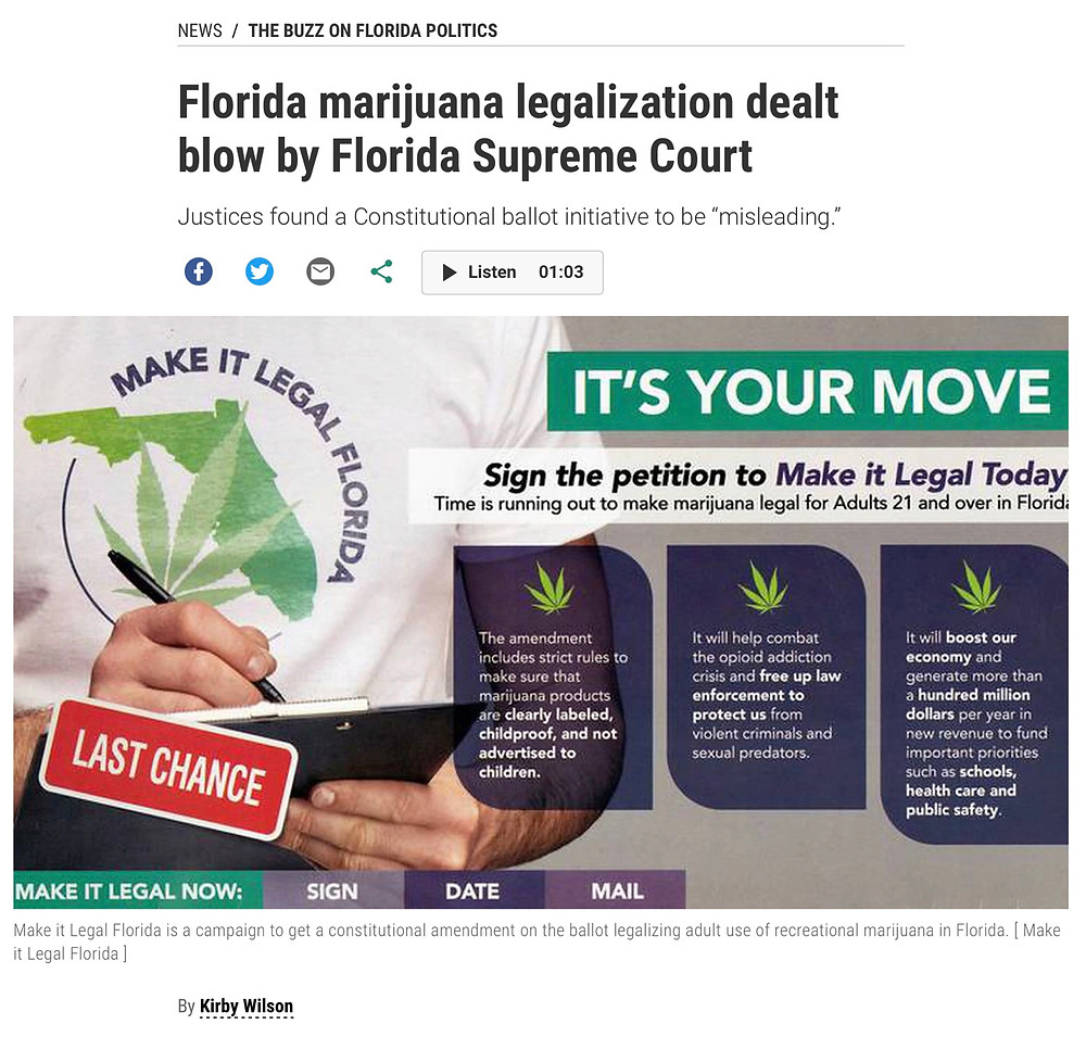 Florida Supreme Court Blocks Voter Inititave for Legalization of Recreational Cannabis
