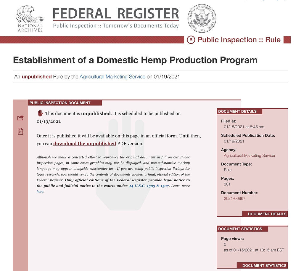 USDA Publishes Final Rules for Domestic Hemp Production