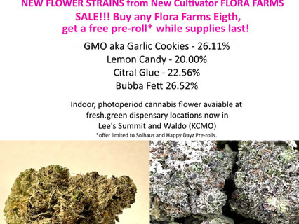 New Flower Special: Buy an 1/8th - Get a Free Pre-Roll at fresh.green Dispensaries