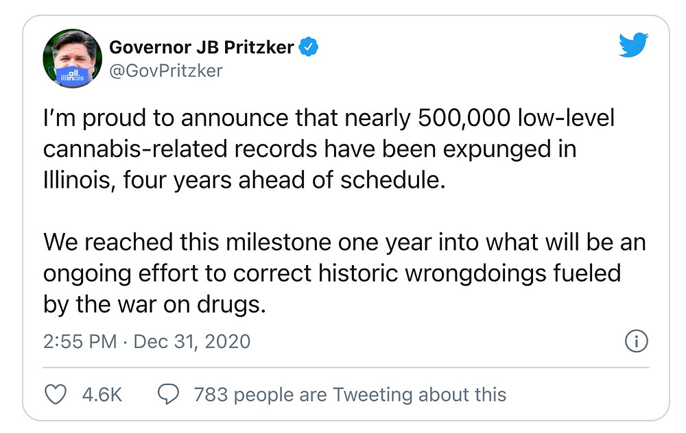Illinois Gov. (D) Expunges 500,000 criminal records.