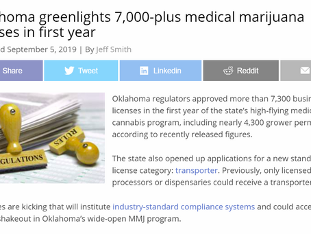Oklahoma Approves Overs 7,000 Medical Marijuana Licenses in Year One!