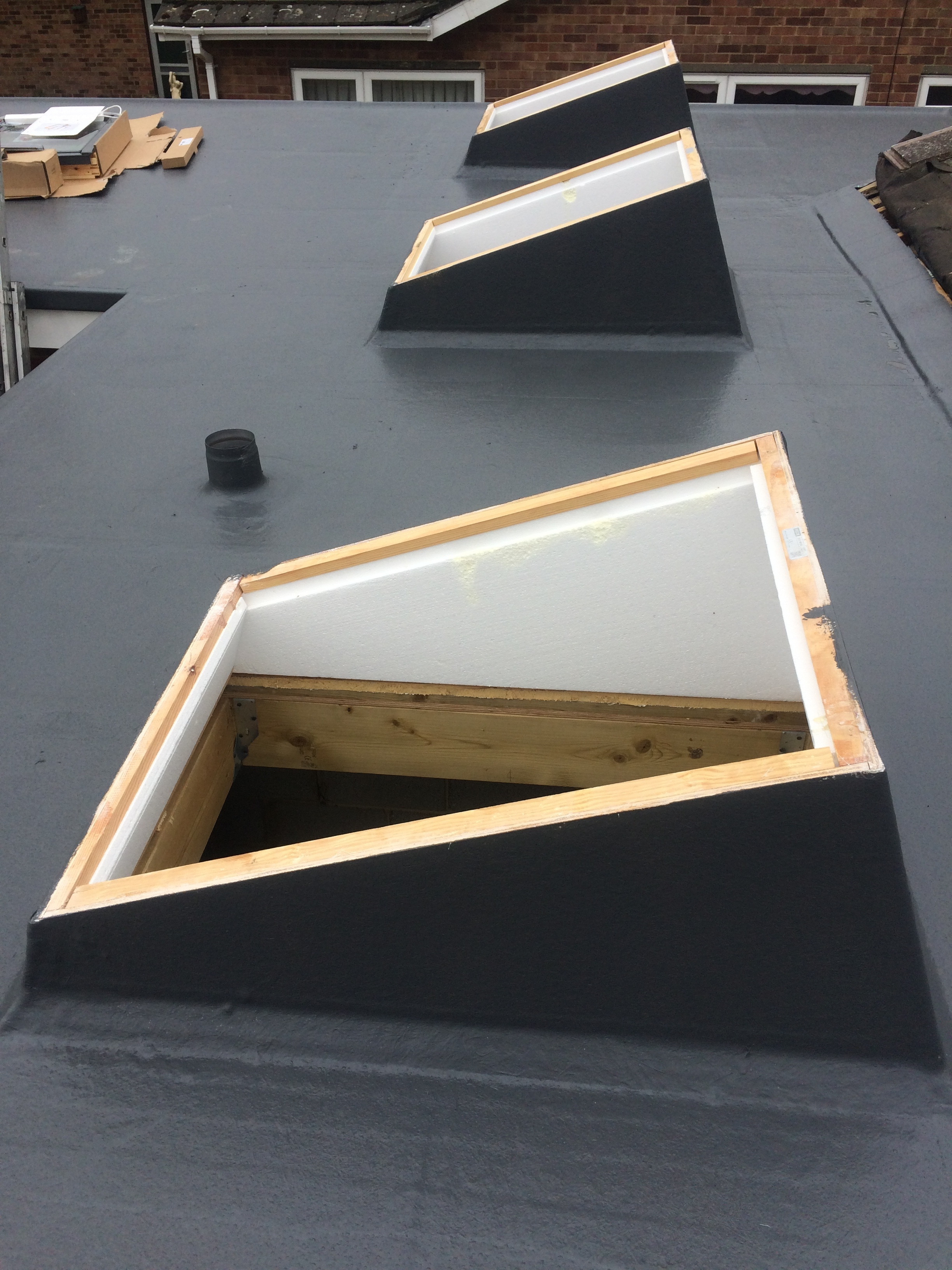 Fibre glass roof and rooflights