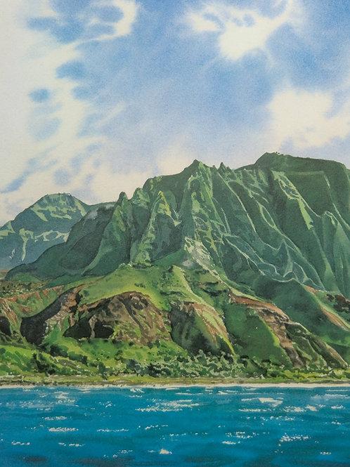 Cathedrals ~ Napali Coast, Kauai. Lithograph