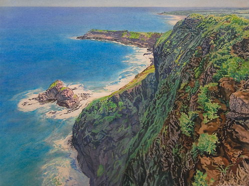 Crater Hill~ Kauai. Original watercolor (Diptych)
